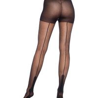 Black Sheer Havana Heel Pantyhose
