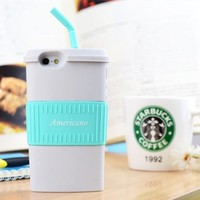 Americano Coffee Cup Silicon Phone Case For iPhone 4/4S (Sky Blue)
