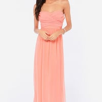 LULUS Exclusive Slow Dance Strapless Bright Peach Maxi Dress