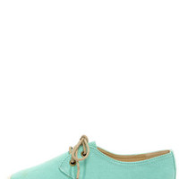 Bamboo Saturday 04 Mint Lace-Up Espadrille Flats