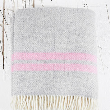 Tweedmill Fishbone Blanket in Grey - Urban Outfitters