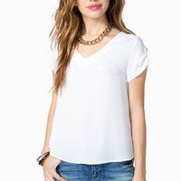 V-Neck Short Roll Sleeve Blouse