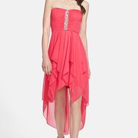 Way-In Embellished Chiffon High/Low Dress (Juniors) | Nordstrom