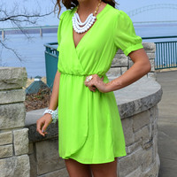 Key Largo Lime Short Sleeve Wrap Dress