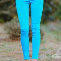 Sugar Coated Jeggings-Sky