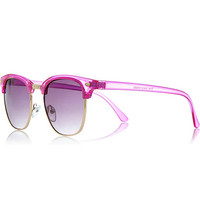 Bright pink transparent retro sunglasses - retro sunglasses - sunglasses - women