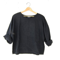 vintage black linen top. oversized cropped shirt