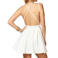 Off White X-Back Skater Dress