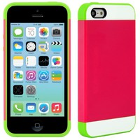 CellJoy Apple iPhone 5C 5 C Case Protective [Vivid Hybrid] Magenta Hot Pink Lime Green & White Slim Fit Dual Protection Cover [Retail Packaged]