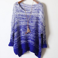 Gradient retro sweater loose bat