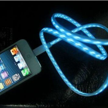 IMZ (TM) White Blue Visible Flowing LED EL Light Micro USB Sync Data Charging Charger Cable for Samsung Galaxy S4 S3 S i9500, Note 3 2 III II, Epic 4G Touch, Skyrocket, Galaxy Attain, Galaxy Note, Galaxy Nexus, Galaxy S, Galaxy Pocket, Rugby Smart and More