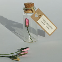 Tiny Personalised Rosebud In A Bottle