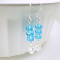 Light Blue Sparkle Earrings, Blue Earrings, Light Blue Earrings, Long Blue Earrings, Blue and White Earrings, Sparkle Earrings