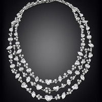 David Morris Three Strand Diamond Necklace, 72.58 Carats