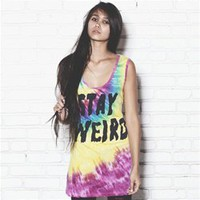STAY WEIRD Tie-Dye Relax Unisex Tank Top