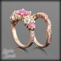 Pink Tourmaline and Sapphire Rose Gold Wedding Ring Set - LS1902 | LaurieSarahDesigns - Wedding on ArtFire