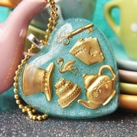 Alice in wonderland Powder Blue with Gold Charms Necklace | Sugarraindrops - Jewelry on ArtFire