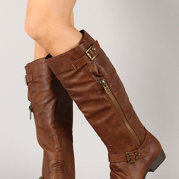 Stella-22 Buckle Zipper Riding Knee High Boot