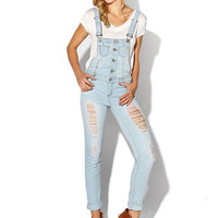 Papaya Clothing Online :: DESTROYED OVERALL DENIM ROMPER