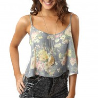 Faded Floral & Lace Tank Blue