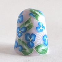 Blue Flower Collectible Thimble Ceramic Polymer Clay Handmade  | bluemorningexpressions - Needlecraft on ArtFire
