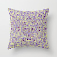 Digital Futuristic Flowers Pattern Throw Pillow by Danflcreativo