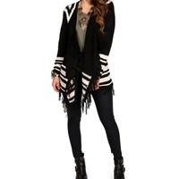 SALE-BlackTan Tribal Fringe Cardigan