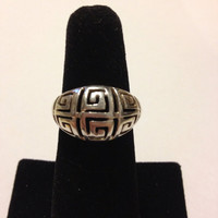 Greek Key Sterling Ring Silver Size 7 Vintage 925 Jewelry Boho Artisan Southwestern Cocktail Engagement Bridal Gift Modern Art Deco Noveau