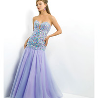 (PRE-ORDER) Blush 2014 Prom Dresses - Lilac & Sky Jeweled Strapless Sweetheart Mermaid Prom Dress