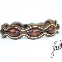 Simple, hand crafted soutache, mens bracelet, unique wood jewelry, brown