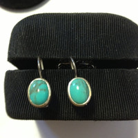 Turquoise Sterling Earrings Silver 925 Blue Stone Dangling Vintage Southwestern Tribal Boho Chic Jewelry Blue Stones Natural Artisan Beauty