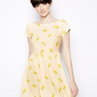 Nishe Pineapple Print Skater Dress -
