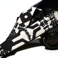 dSLR Camera Strap. Aztec Camera Strap. White and Black Camera Strap. Camera Accessories