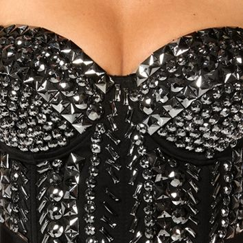 Black Beaded Crop Corset Top