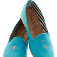 Always Flock Together Teal Suede Flats with Pink Flamingos | Mod Retro Vintage Shoes
