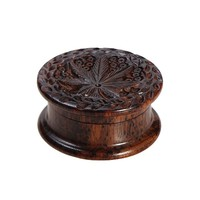 Rosewood Herb Grinder - Carved Pot Leaf Lid - 2-part - 45mm wide