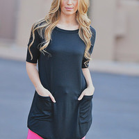 Cute As A Button Short Sleeve Tunic - Black