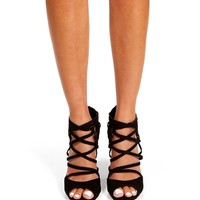 Promo-Black Open Toe Strappy Wedges