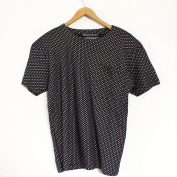 Vintage 90s Oversize Black Polka Dot Pocket Tee Shirt - Slouchy IB Diffusion Metallic Gold and Silver Dotted Women's Baggy Shirt