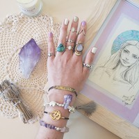 amethyst and my LOVEly free people etched plate bracelet by coconutandlime on Free People