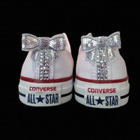 Crystal Bling Converse With Matching Sparkling Back Strip and Bows