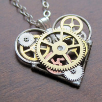 "Mini Mechanical Heart Necklace ""Devote"" Elegant Industrial Heart Pendant Steampunk Clockwork Love Sculpture Gershenson-Gates Valentine's"