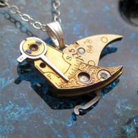 "Clockwork Bird Pendant ""Kookaburra"" Mechanical Bird Necklace Elegant Steampunk Balance Cock Sparrow Gear Robot Wing AMECHANICALMIND"