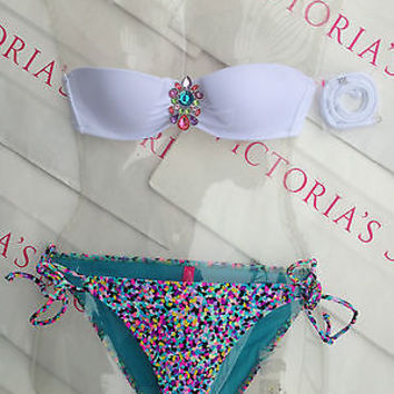 New Sexy Victoria's Secret Confetti Embellished Bandeau Bikini Set 32A XS White