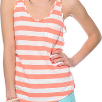 Zine Coral & White Stripe Pocket Tank Top