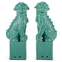 Sitting Foo Dog Set, Ceramic Green