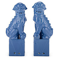 Sitting Foo Dog Set, Ceramic Blue