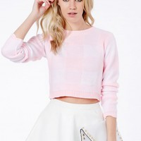 Missguided - Elisette Gingham Cropped Jumper In Baby Pink
