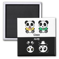 Personalized Clean Dirty Panda on White Magnet