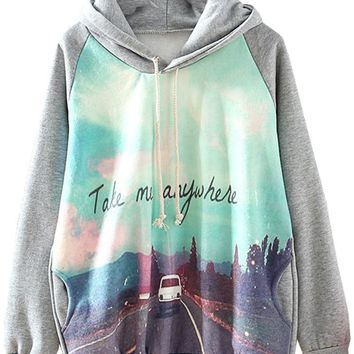 Sheinside Grey Hooded Long Sleeve Car Print Sweatshirt